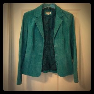 Jackets & Blazers - Teal Suede 100% Leather Jacket